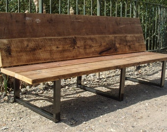 Reclaimed Scaffold Board & Steel Bench