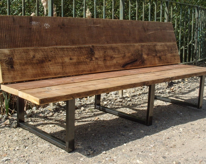 Reclaimed Scaffold Board & Steel Bench