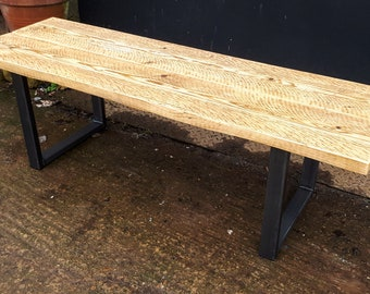 Reclaimed Scaffold Board Rustic Wood Wide Bench with Steel Box Section Legs