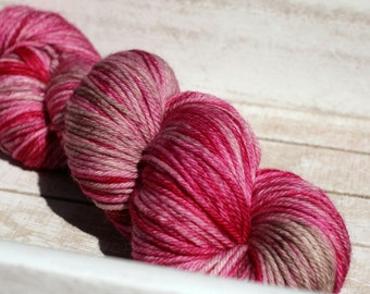 Hand dyed rosey pink and light taupe worsted weight superwash yarn, merino wool indie dyed in worsted weight, pink yarn for knitting