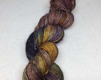 Hand dyed tweed sock yarn, highly variegated sock yarn, tweed sock yarn
