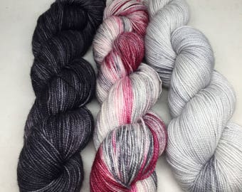 Hand dyed sock yarn as a 3 skein kit perfext for that next 3 skein shawl, indie dyed shawl kit with 3 skeins of yarn