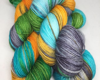 Hand dyed sock yarn on a great high twist superwash merino wool, indie dyed yarn