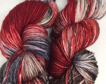 Hand dyed worsted weight yarn Strawberries and cream, indied super wash yarn in worsted weight