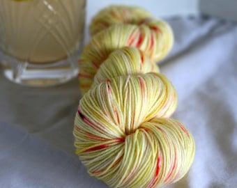 Hand dyed yellow lemonade yarn sock yarn, yellow yarn with speckles,indie yarn, kettle dyed yarn,
