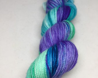 Hand dyed sock yarn inspired by pools, indie sock yarn in blues and greens, hand dyed yarn