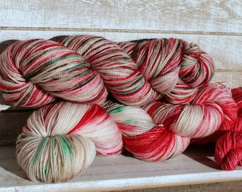 Christmas sock yarn with toes and heels, varigated Christmas yarn hand dyed,  red and green yarn hand dyed, sock yarn with toes and heels