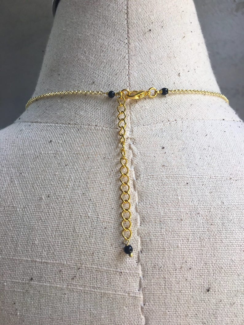Boho Style triangle necklace Casual Style Crystal necklace Attractive black beads necklace pretty girl beautiful necklace handmade