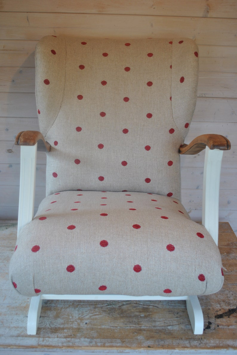 Cool Vintage Wing Back Rocking Chair Upholstered In Red Spots And Painted Cream With Striped Wooden Arms Perfect Nursing Chair Customarchery Wood Chair Design Ideas Customarcherynet