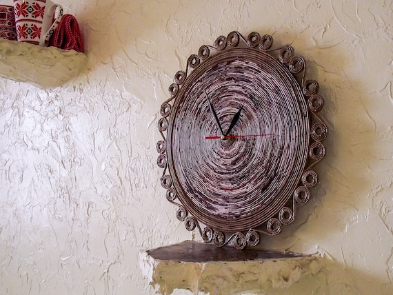Rustic clock Brown round hand made paper wall watch no ticking designer  clocks  Beigewall handmade watch from newspapers pipes