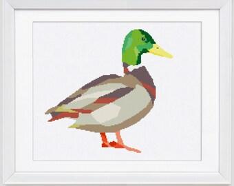 Duck cross stitch pattern, modern counted cross stitch, Duck counted cross stitch pattern