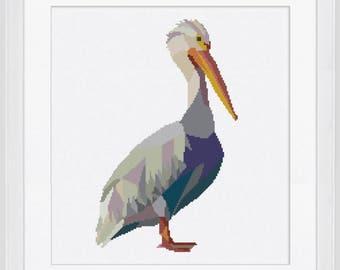 Modern cross stitch pattern, pelican cross stitch pattern, counted cross stitch pattern