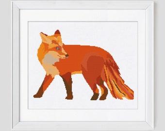 Modern fox cross stitch pattern, fox cross stitch pattern, fox counted cross stitch pattern, fox cross stitch pdf pattern