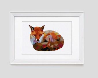 Fox Cross Stitch Pattern, Fox counted cross stitch, Modern fox cross stitch pattern