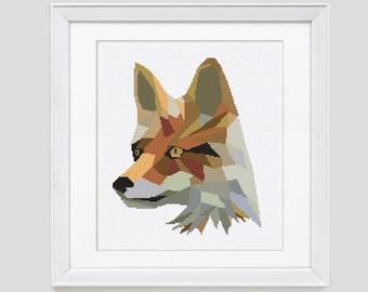 Cross stitch pattern, fox cross stitch pattern, fox counted cross stitch pattern, fox cross stitch pdf pattern