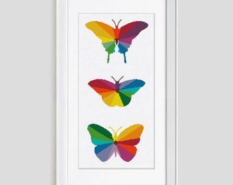 Butterflies cross stitch pattern, butterfly counted cross stitch pattern, modern butterfly cross stitch pdf pattern