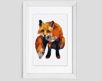 Modern cross stitch pattern, Fox cross stitch pattern, red fox counted cross stitch, modern fox cross stitch pattern, easy to stitch fox