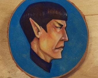 Handpainted: Star Trek's Spock on Birch