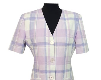 Vintage Jacket Blazer by St Michael in Purple & White Check Size 10 Evening Races Formal Races Interview *