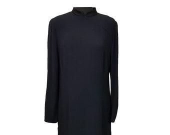 Vintage Dress UK Size 20 Black Dress 1990s Fink Funeral Formal Long Sleeved High Neck Retro Dress Shoulder Pads