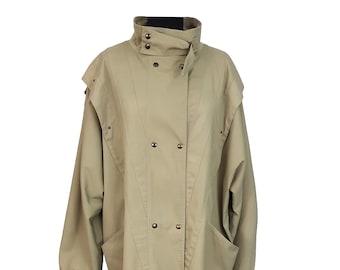89035f00e13 Vintage Coat UK Size 24 Khaki Green Retro 1990s Top Lady Vintage Trench Coat  Mac Outdoors Plus Size Office Commuting Long