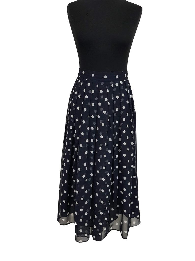 Vintage Skirt Size 14 Navy Blue White Polka Dot Gala Party Evening Skirt Party Skirt Cocktail