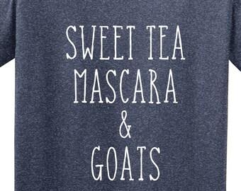 3b4a1cd85 Sweet Tea, Mascara and Goats | Funny Goat Shirt | Barn Life | Goat Shirt |  Farm Shirt | *New* Softstyle Unisex Tee | Soft