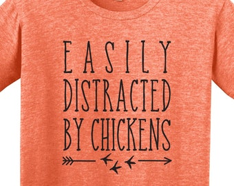 4cfaef34 Easily Distracted By Chickens | Barn Life | Farm | Chicken Shirt | Humor  Farm | Chicken Funny | *New* Softstyle Unisex Tee | Soft