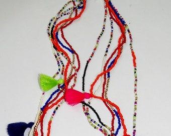Summer Boho multi layered  tasseled Necklace/ seed bead & Tassel Necklace / Multi coloured necklace/Tassel Ncklace/Seed bead colour