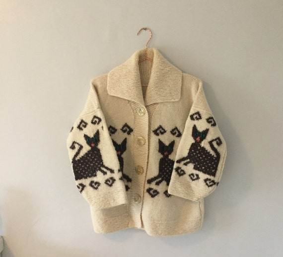 Vintage Handmade Cat Cardigan Pullover Sweater Jum