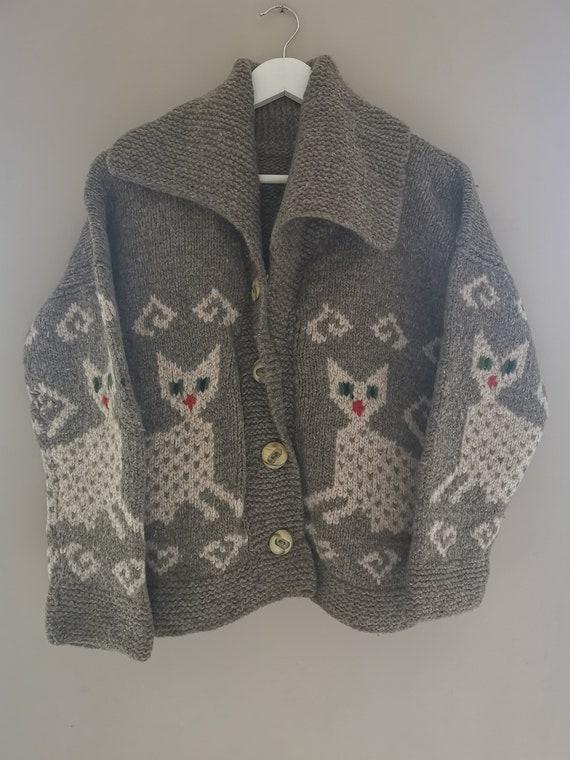 Vintage Handmade Cat Cardigan Pullover Sweater Car