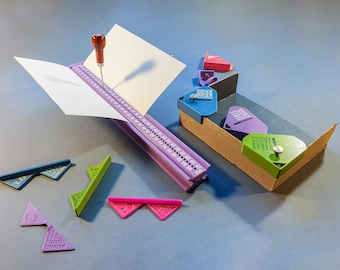 Bookbinding Set #3B: Section Punching Cradle Type B + Corner Cutting Jigs + Corner Clamps for Boxmaking (3d-printed, Mark II)