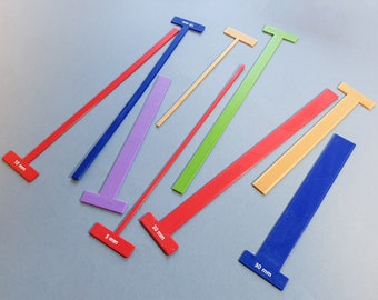 Set of T-Spacers (Metric) Gauges/Straightedges for Bookbinding, Cartonnage, and Other Crafts (2.5 mm high, 3d-printed, Mark II)