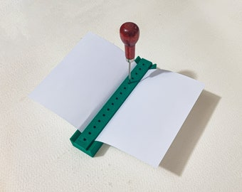 Mini Signature Punching Tool for Bookbinding / Signature Punching Cradle / Hole Punching Tool (3d-printed, Type A, Mark I)