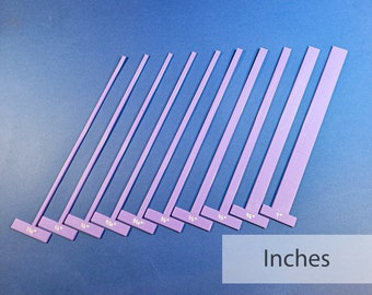 Set of Thin T-Spacers (Imperial) Gauges/Straightedges for Bookbinding, Cartonnage, and Other Crafts (2.5 mm high, 3d-printed, Mark II)