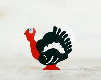 Wooden Turkey cock toy Farm animal Gobbler figurine Fowl bdef1abae878