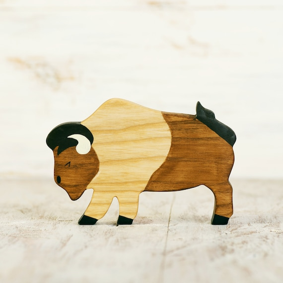 Wooden Bison Toy American Buffalo Figurine Ox Miniature Etsy