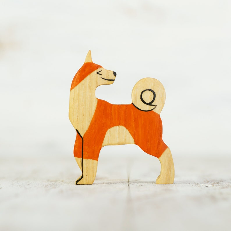 Wooden toy Dog figurine Barn yard toys Miniature animal figure image 0