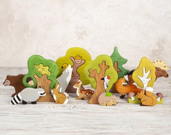 BIG SET Wooden woodland animals toys (9pcs) + Trees (5pcs) Nature table Waldorf toys Wooden toys Animal figures Toys for kids