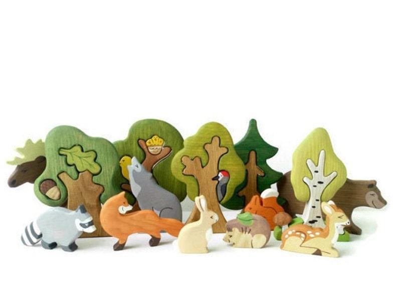 BIG SET Wooden woodland animals toys 9pcs  Trees 5pcs image 0