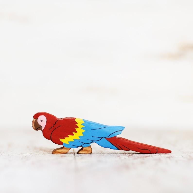 Wooden toy ara parrot figurine