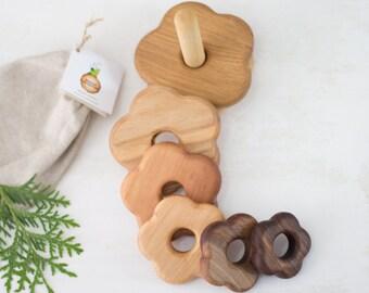 Blume aus Holz stapeln Spielzeug feine motorischen Fähigkeiten Montessori Kinder lernen Spielzeug Holz Spielzeug Waldorf pädagogisches Spielzeug