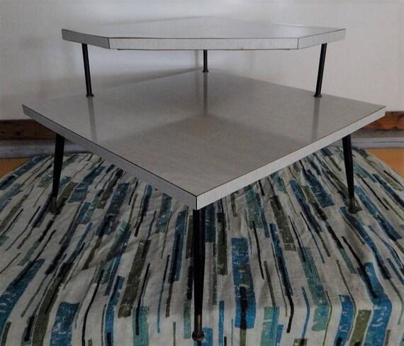 Vintage Mid Century Modern Two Tier Corner Formica Table Etsy - Mid century modern formica table