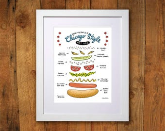 Chicago Hot Dog Art Print - 8x10, 11x14, 16x20 and 18x24