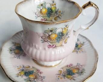 Vintage Elizabethan Fine Bone China Footed Cup & Saucer Set, England, Bone China Tea Set, Teacup,Saucer and Plate Vintage English Bone China