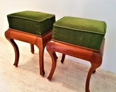 Amazing Pair of Vintage French Louis XV Style Vanity Dresser Stool, French Furniture Velvet Footstool Ottoman, Pair Upholstered Stools