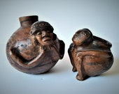 Pre-Columbian ceramic, Male anthropomorphic figures, Capuli Culture, Small Pre-Columbian Pottery Human Effigy Pot, antique ceramic pottery