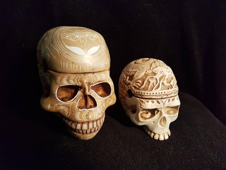 Two beautiful Handmade Kapala Skulls Carved Resin Replica of Human Skull  Tibetan Buddhism, Tibetan Ritual Skull Head Kapala replicas