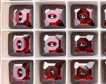 12 PCS Swarovski 14mm Square Buttons Padparadscha MF #3017
