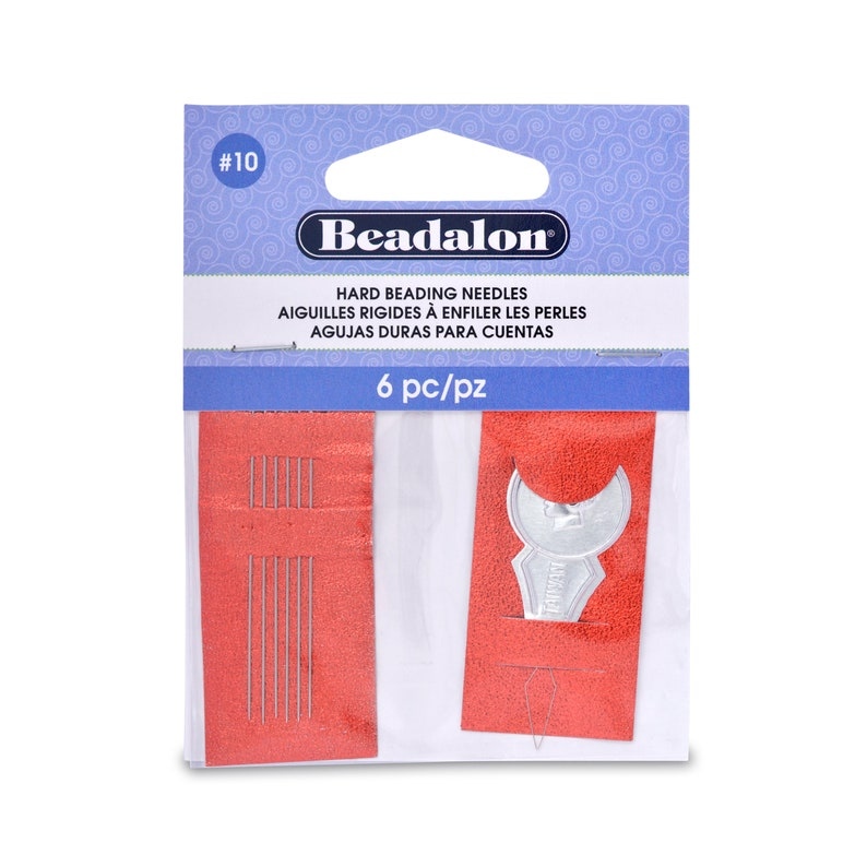 Size 10 Beadalon Hard Beading 12 needles /& Threader fnt